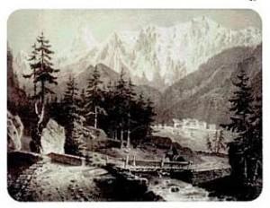 La Mine de Peisey en 1840, gravure de Courtois