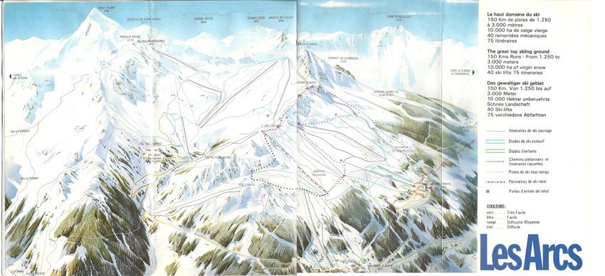 Plan des pistes des Arcs et Peisey-Vallandry 1975