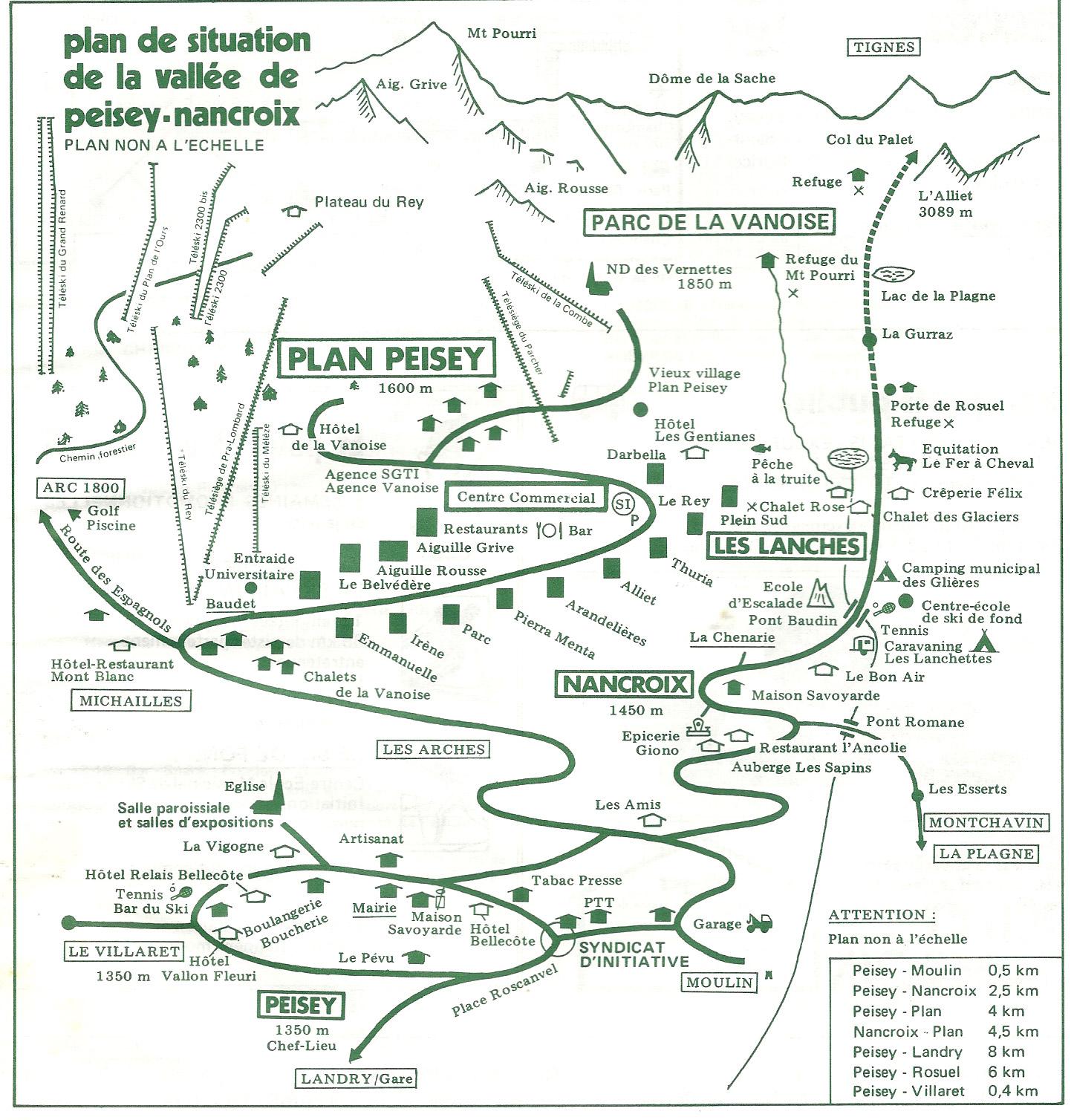 Plan de la vallée de Peisey-Nancroix 1981