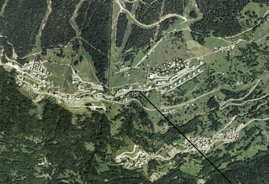 Vue aérienne de Peisey-Vallandry