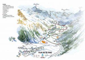 plan des pistes de ski de fond de Peisey