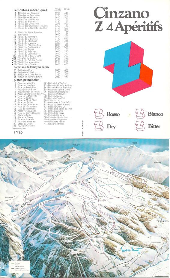plan des pistes des Arcs et de Peisey-Vallandry 1974
